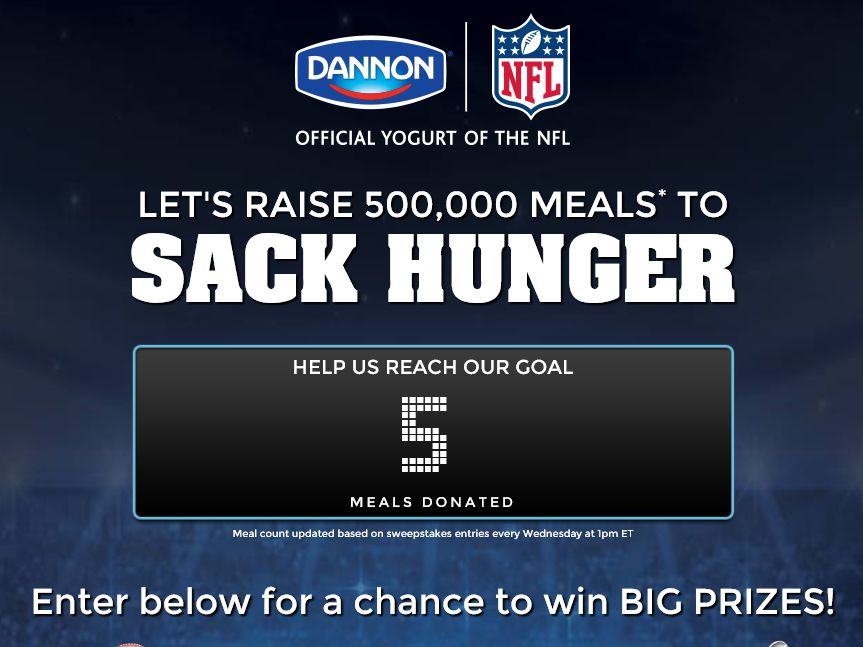 """The  Dannon Company """"Sack Hunger"""" Sweepstakes"""