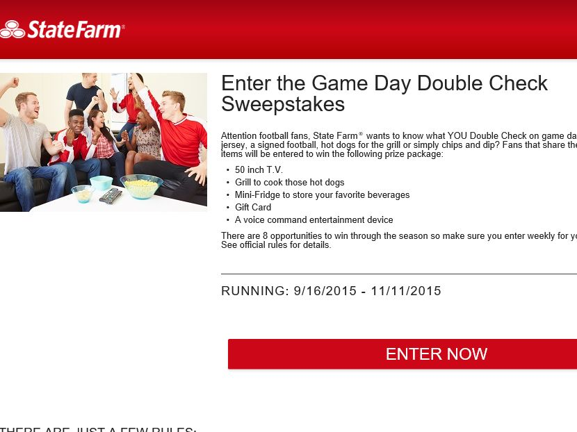 The State Farm Game Day Double Check Sweepstakes