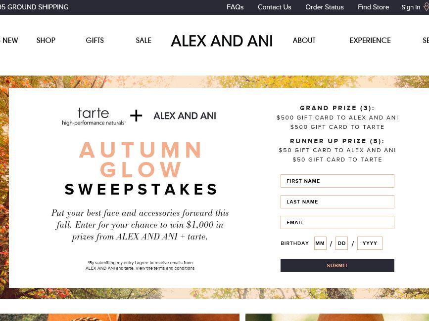 The Alex and Ani Autumn Glow Sweepstakes