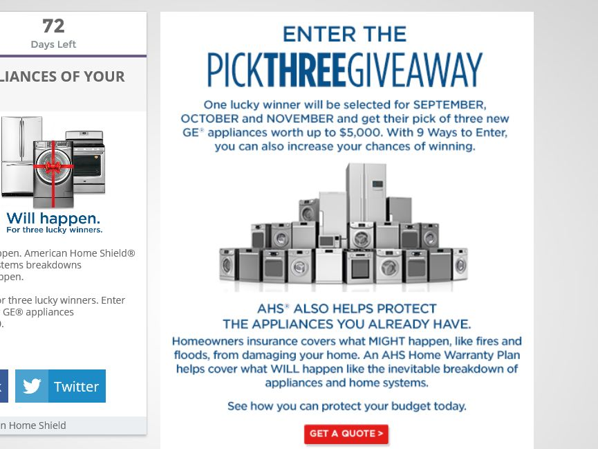 The American Home Shield YOU PICK THREE GIVEAWAY Sweepstakes