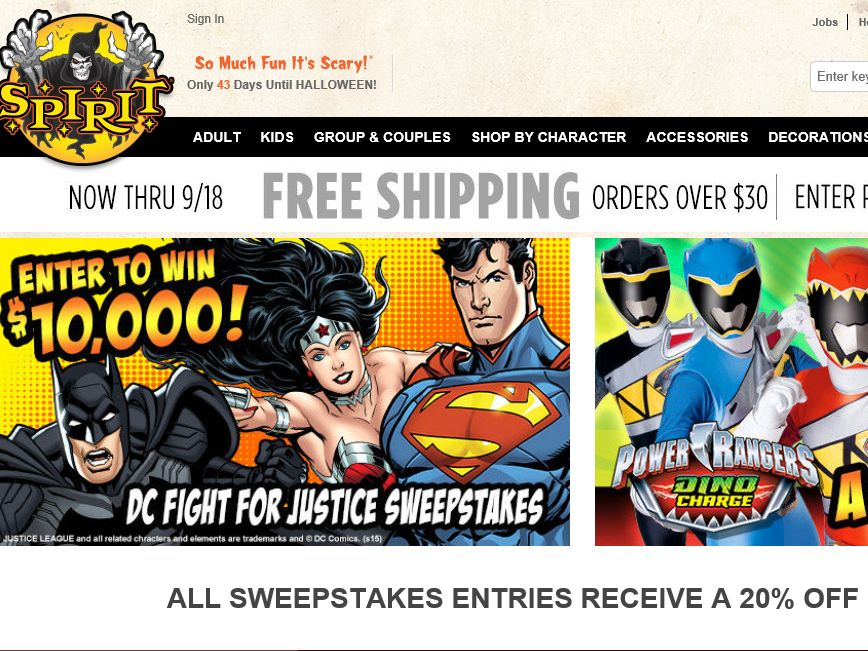 Spirit Halloween's DC Fight for Justice Sweepstakes