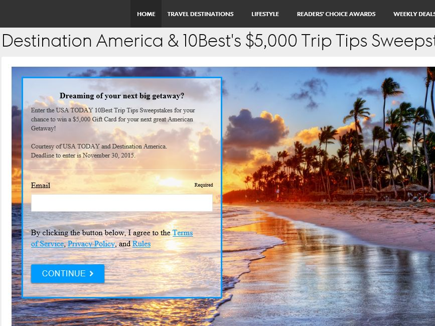 USA Today 10Best Trip Tips Sweepstakes