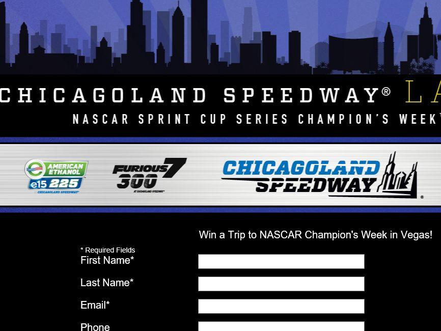 The Chicagoland Speedway Las Vegas NASCAR Sprint Cup Series Champion's Week Sweepstakes
