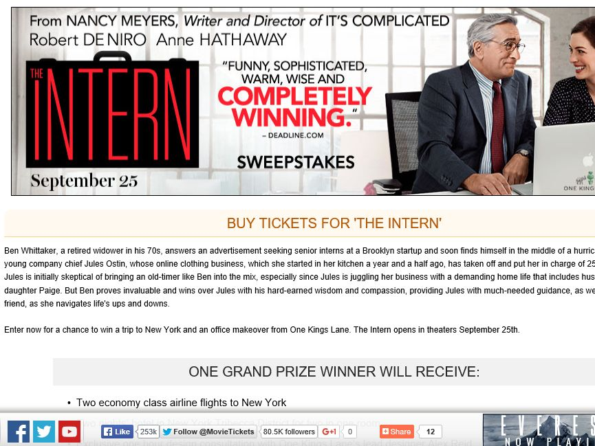 """MovieTickets.com's """"The Intern"""" Sweepstakes"""