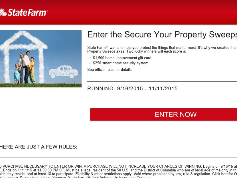 The State Farm Secure Your Property Sweepstakes