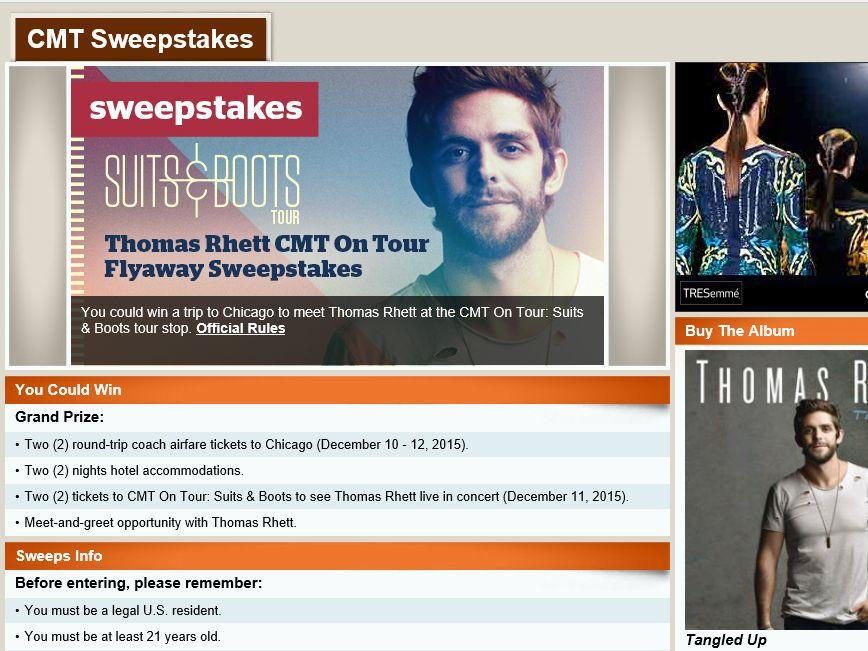 The Thomas Rhett CMT On Tour Flyawaay Sweepstakes