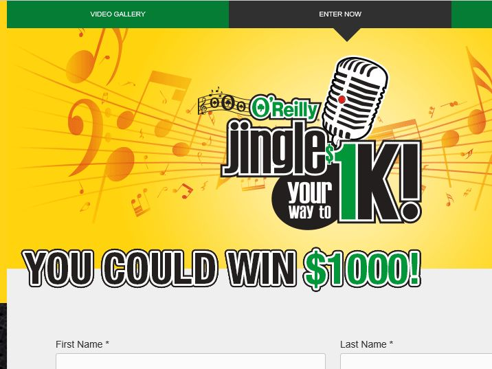 The O'Reilly Auto Parts Jingle Your Way to 1K! Contest