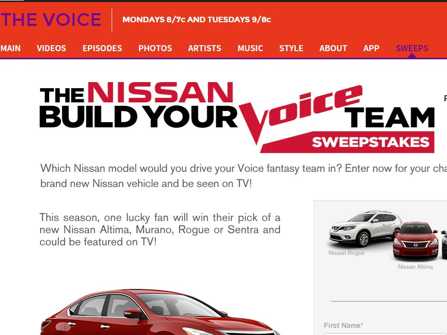 Nissan's Build Your Voice Team Sweepstakes