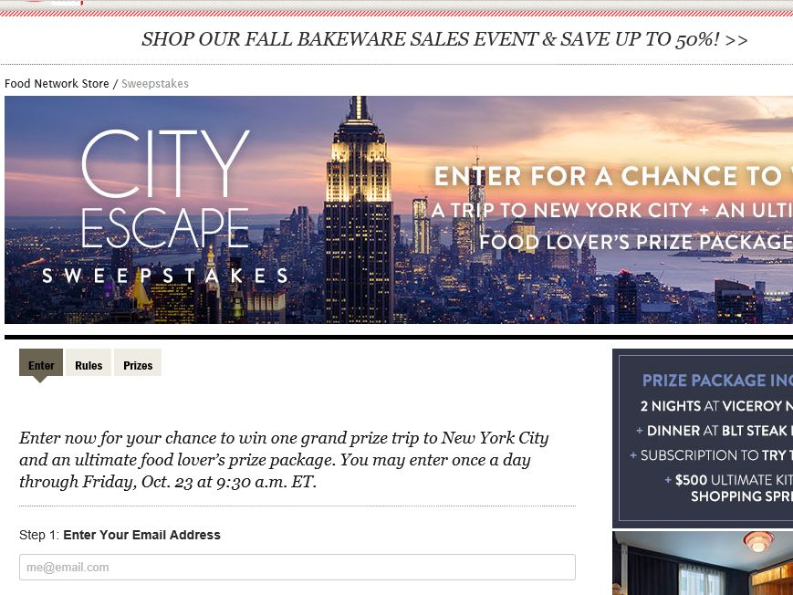 Food Network City Escape Sweepstakes