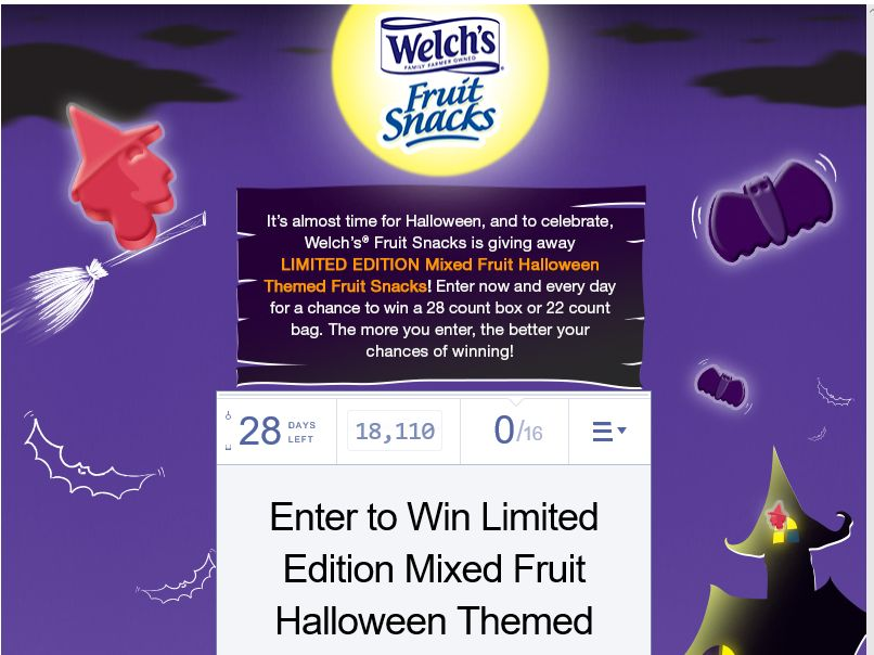 Welch's Fruit Snacks Halloween Sweepstakes