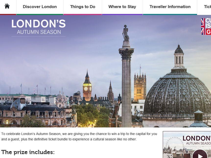 Visit London London's Autumn Season Sweepstakes
