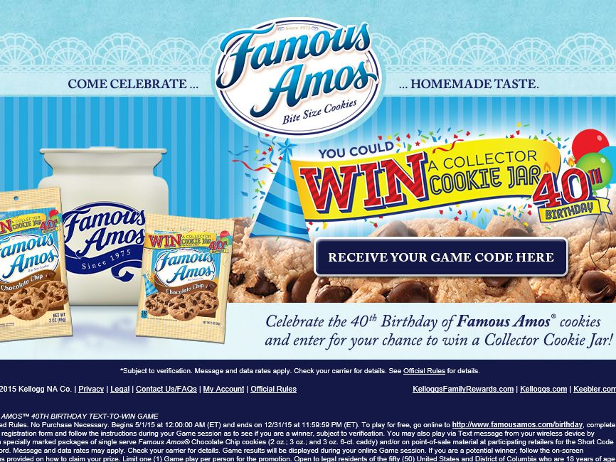 The Famous Amos 40th Birthday Text-to-Win Game