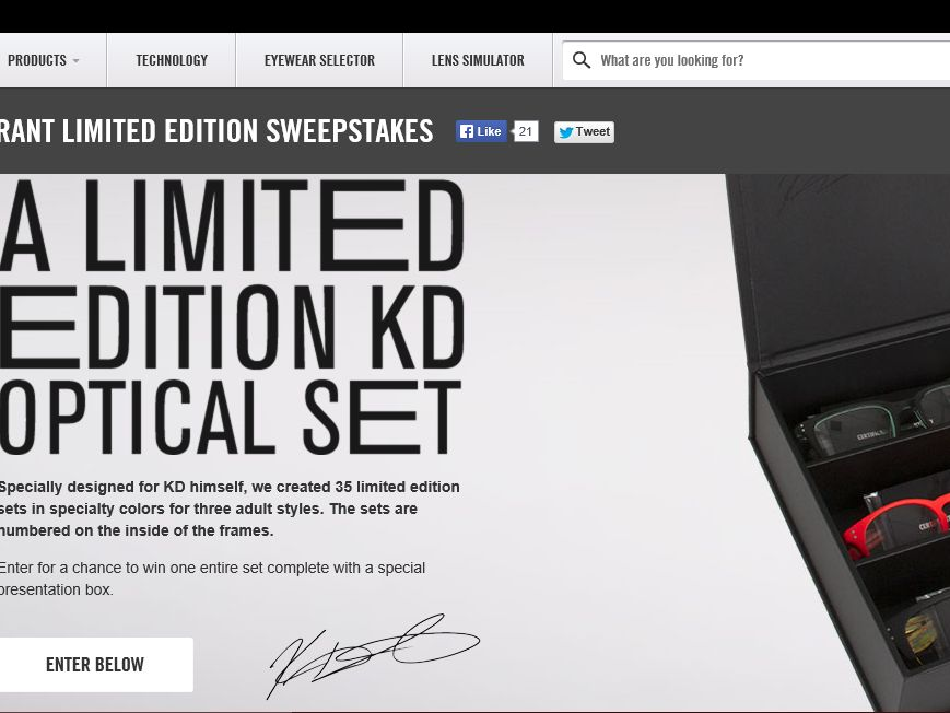 Nike Featuring Kevin Durant Limited Edition Eyewear Sweepstakes