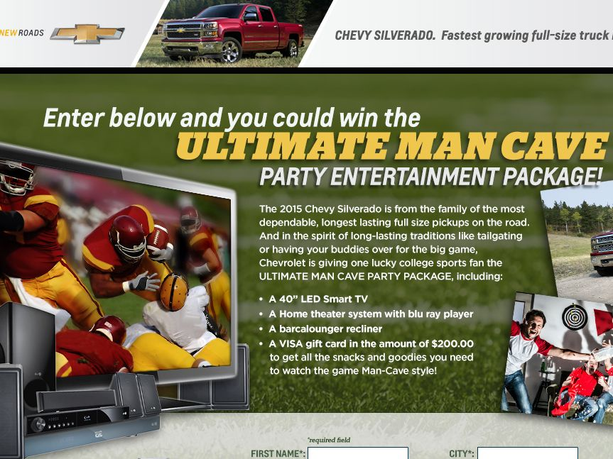 CHEVY SILVERADO Man Cave Party Sweepstakes – Select States