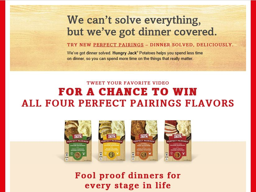The Hungry Jack Potatoes Perfect Pairings Promotion
