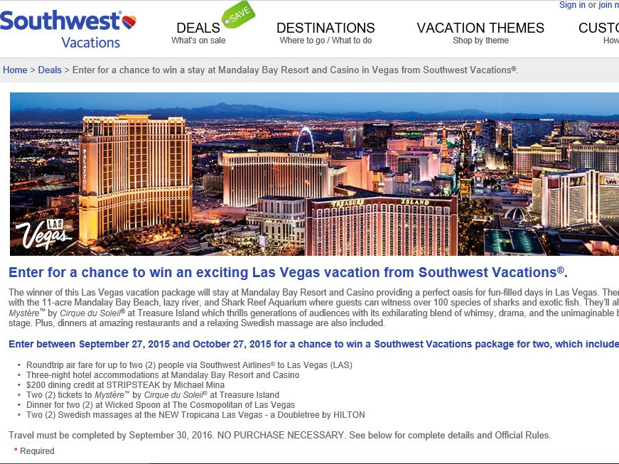 The Southwest Vacations Mandalay Bay Resort and Casino Sweepstakes