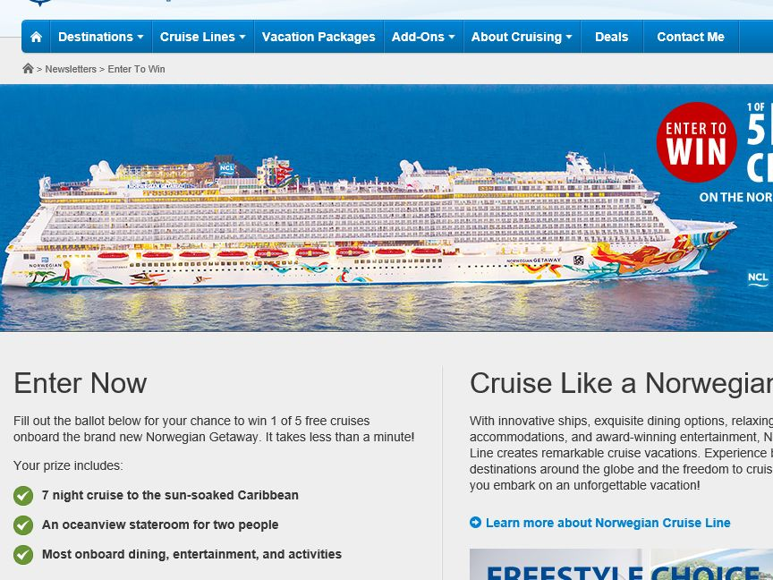 Expedia Cruise Centers Win 1 of 5 Free Cruises Contest