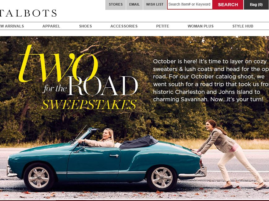"""The Talbots """"Two for the Road"""" Sweepstakes"""