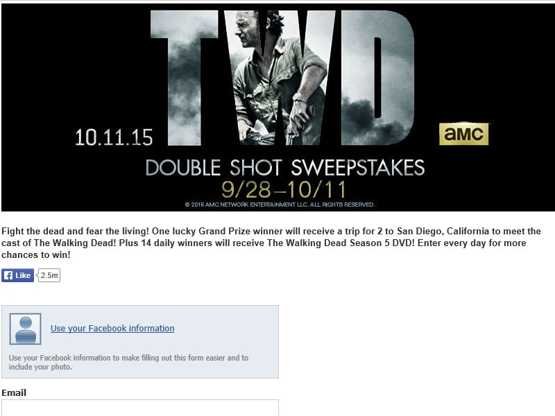 The Walking Dead Double Shot Sweepstakes