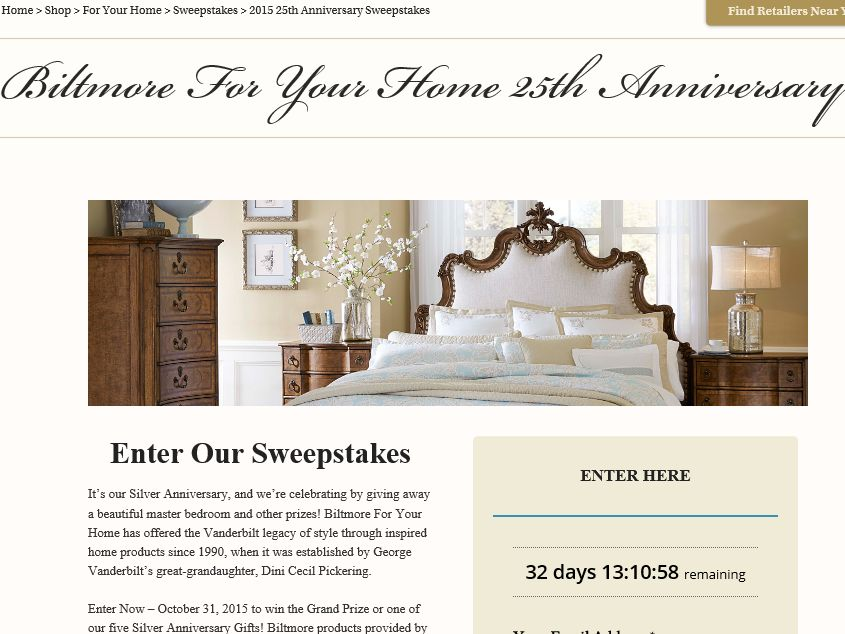 Biltmore For Your Home 25th Anniversary Sweepstakes