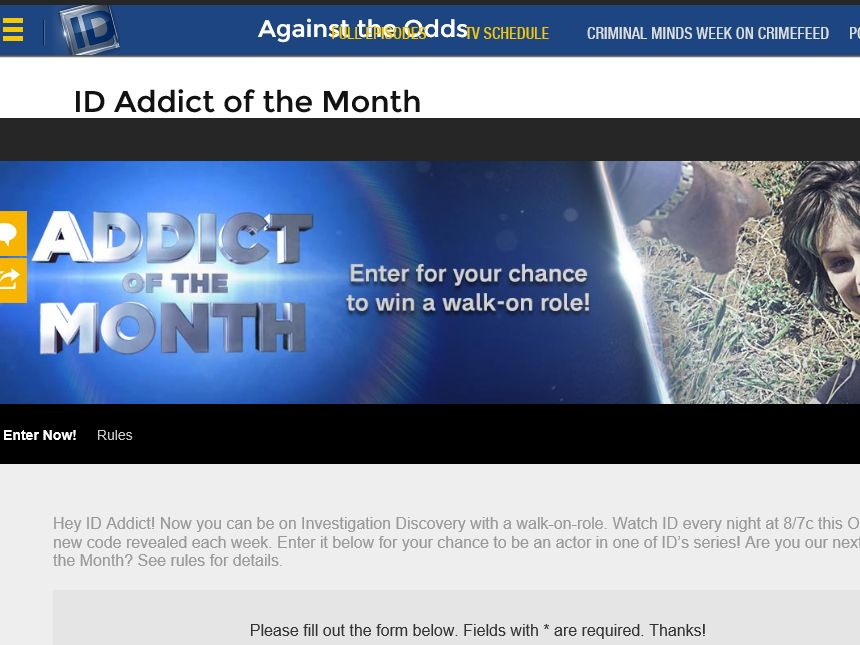 The Investigation Discovery Addict Of The Month Win A Walk