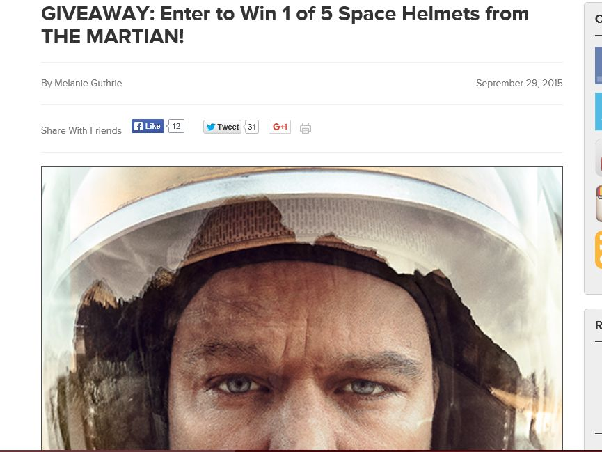 """The AMC """"THE MARTIAN"""" Giveaway"""