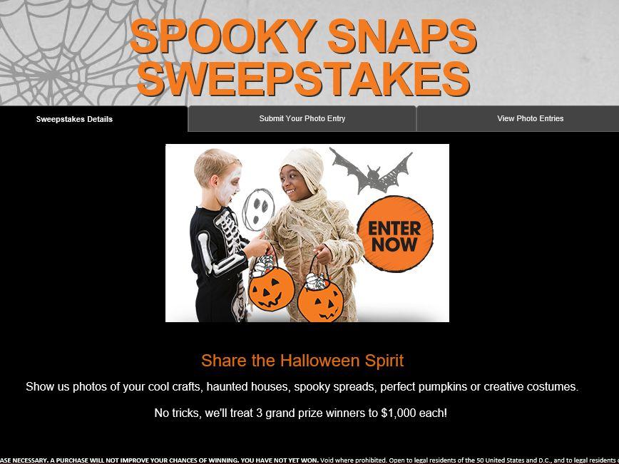 The Valpak Spooky Snaps Sweepstakes