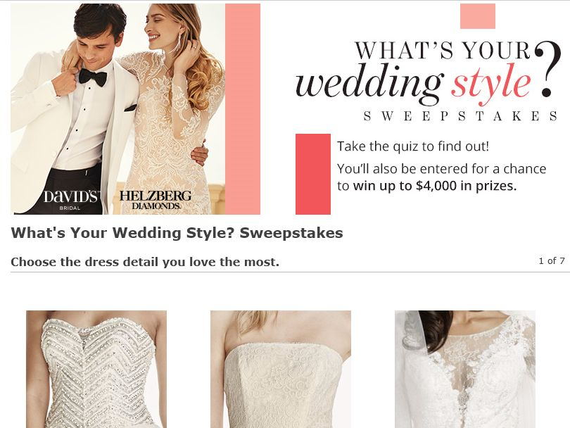 The David's Bridal This Wedding Style Quiz Sweepstakes