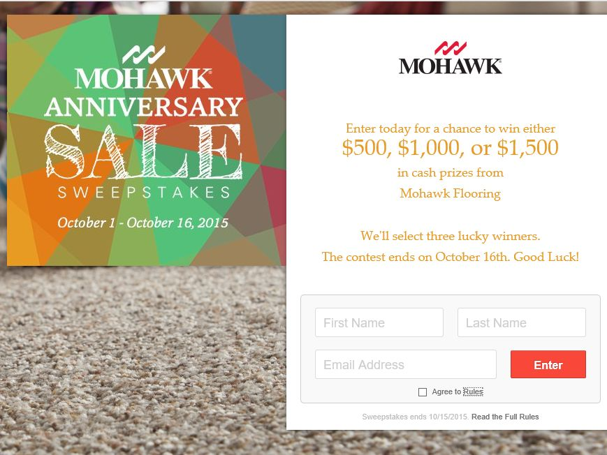 The Mohawk Anniversary Sale Sweepstakes