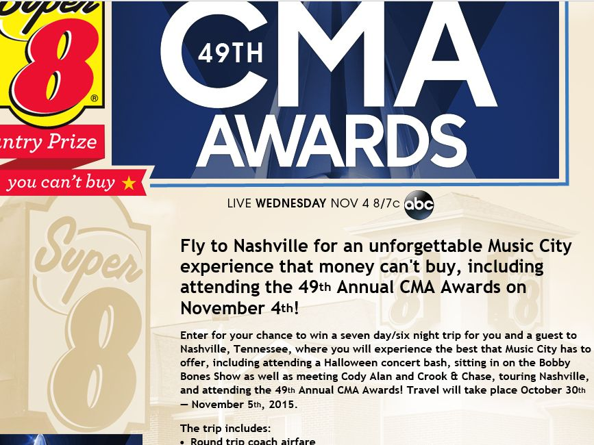 The 49th Annual CMA Awards Country Prize You Can't Buy Sweepstakes