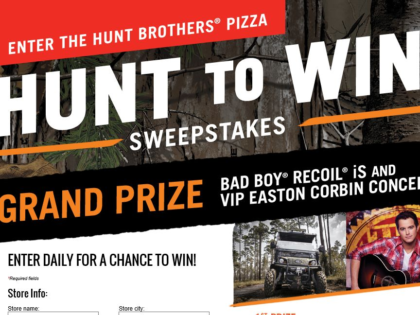 """Hunt Brothers Pizza """"Hunt to Win"""" Sweepstakes – Select States"""