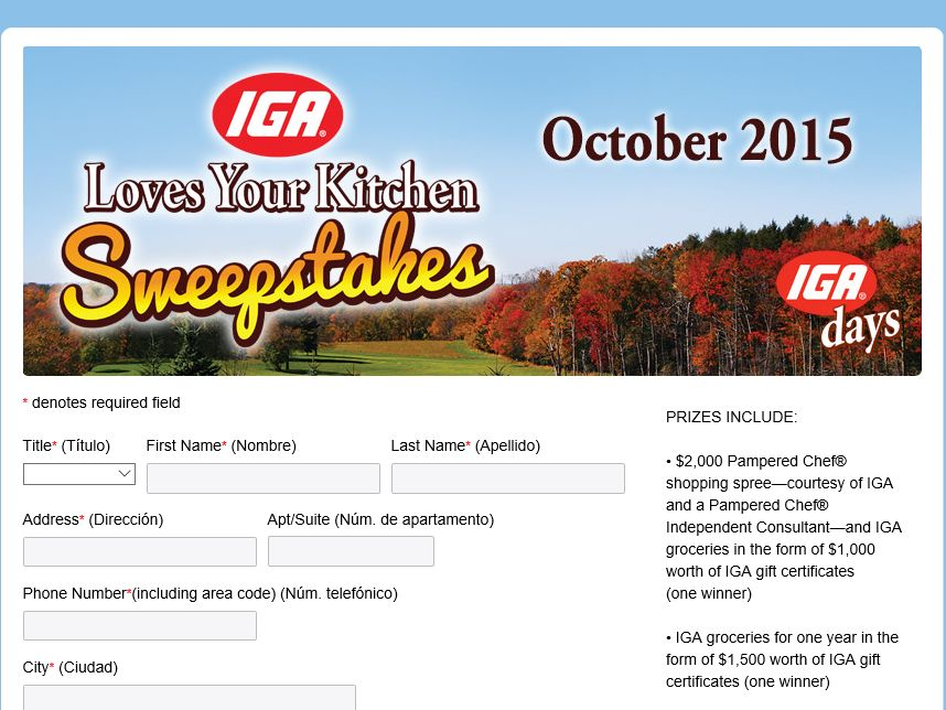 "The ""2015 ""IGA Loves Your Kitchen"" Sweepstakes"