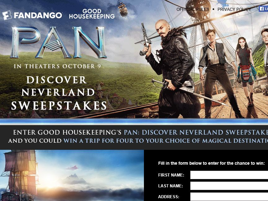 Good Housekeeping's PAN: Discover Neverland Sweepstakes