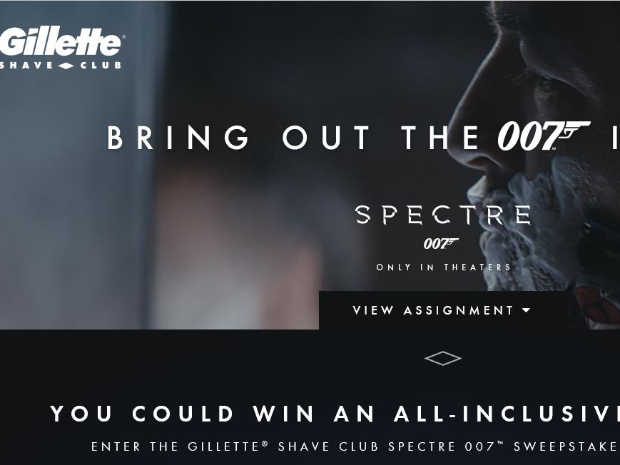 The Gillette Shave Club SPECTRE 007 Sweepstakes