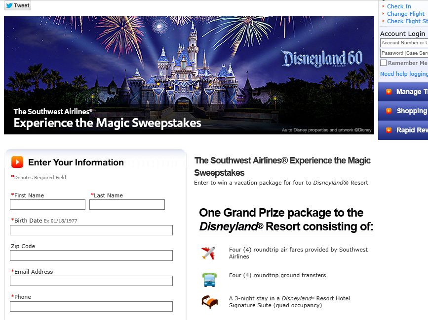 Southwest Airlines' Experience Diamond Anniversary Sweepstakes