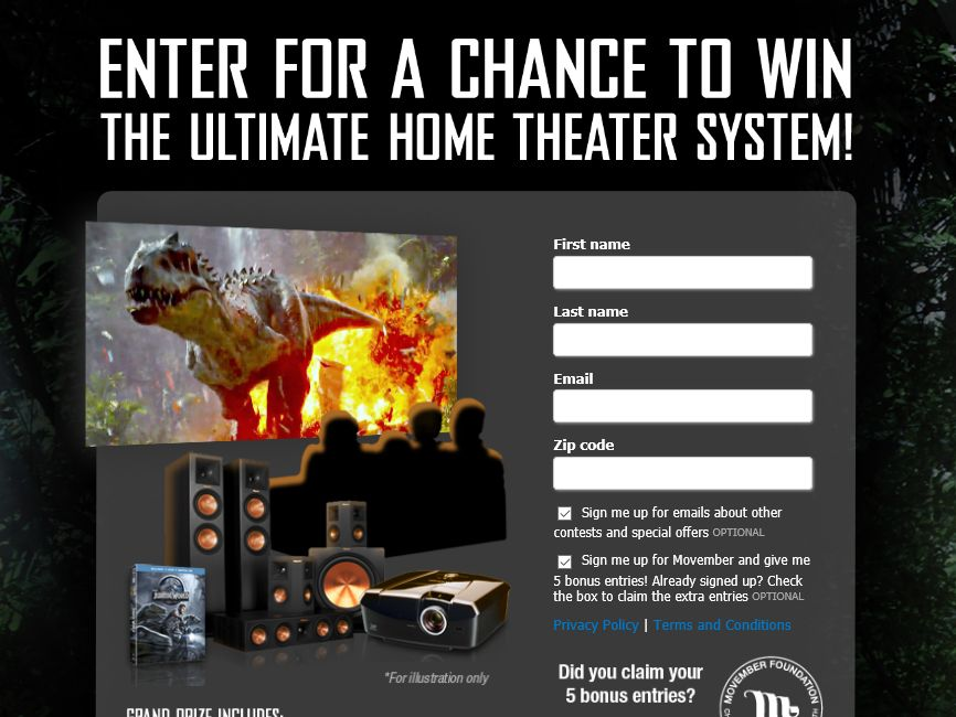 The Jurassic World Ultimate Home Theater System Sweepstakes