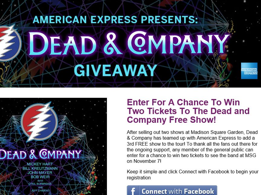 American Express Presents: Dead & Company Giveaway Sweepstakes