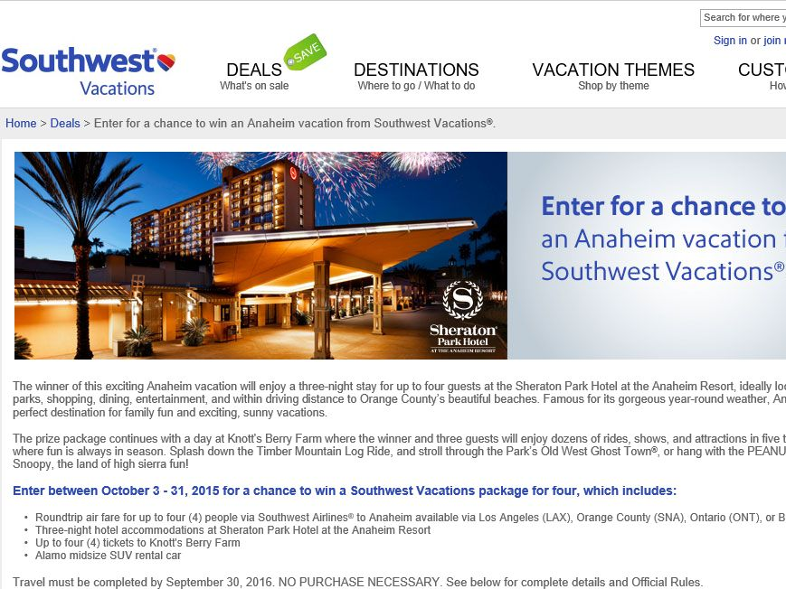 Southwest Vacations Anaheim In A Nutshell October Sweepstakes