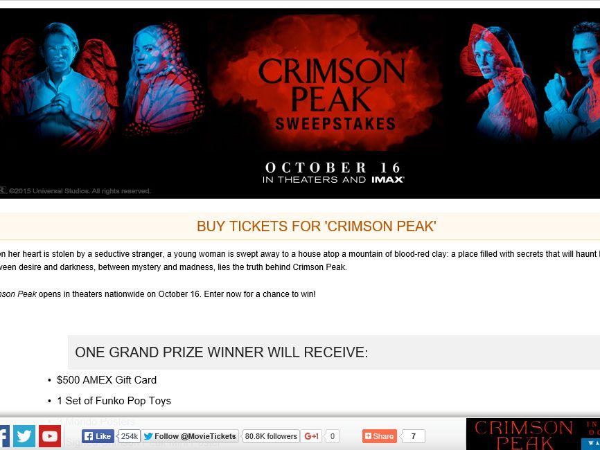 "The MovieTickets.com ""Crimson Peak"" Sweepstakes"