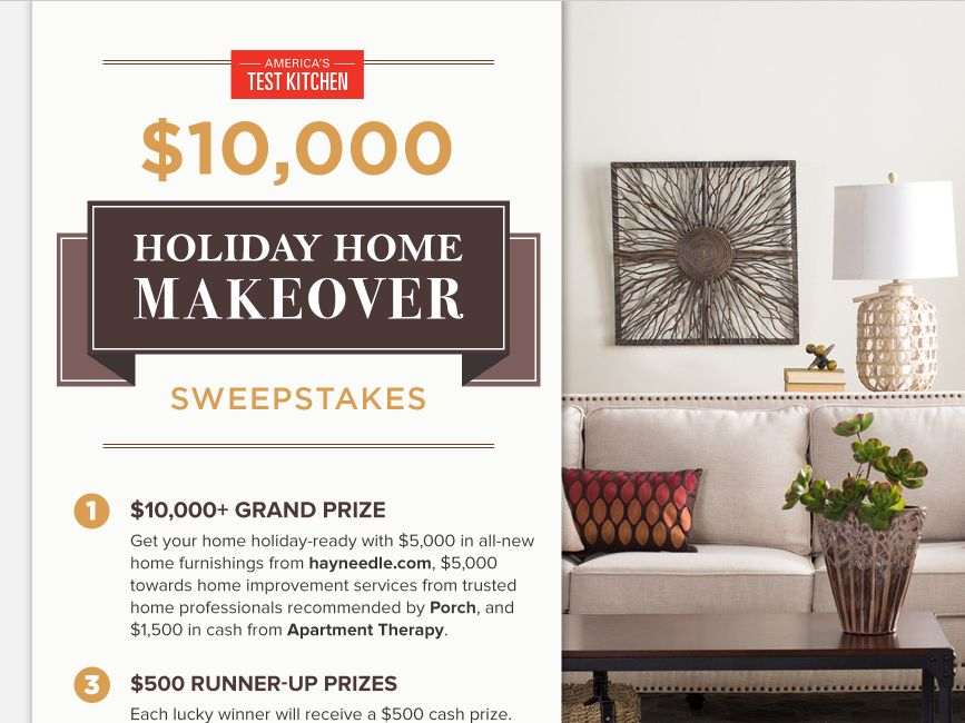 The America's Test Kitchen $10,000 Holiday Home Makeover Sweepstakes