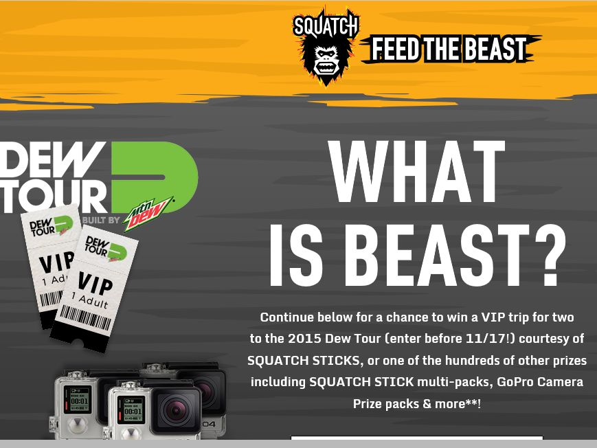 The Jack Link's Squatch Feed the Beast Instant Win Game & Sweepstakes