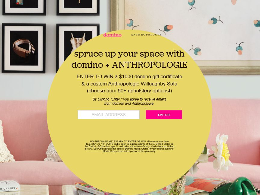 The 'domino+Anthropologie' Sweepstakes