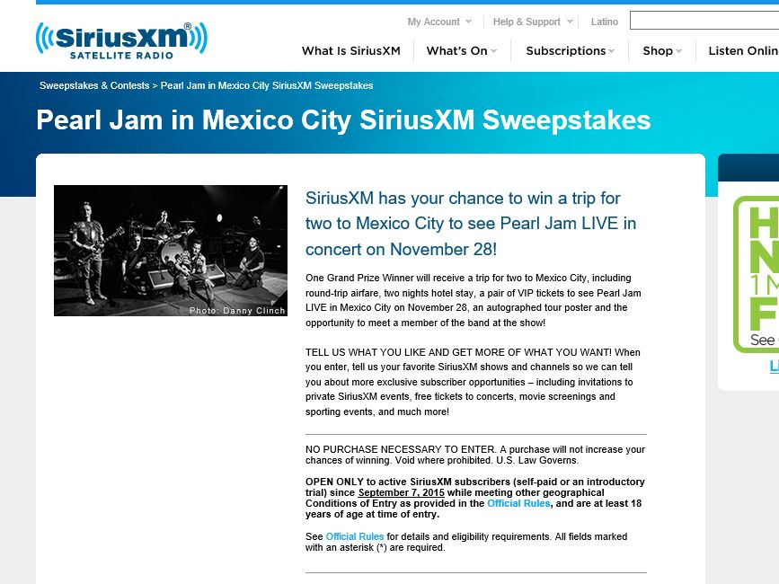 Pearl Jam in Mexico City SiriusXM Sweepstakes