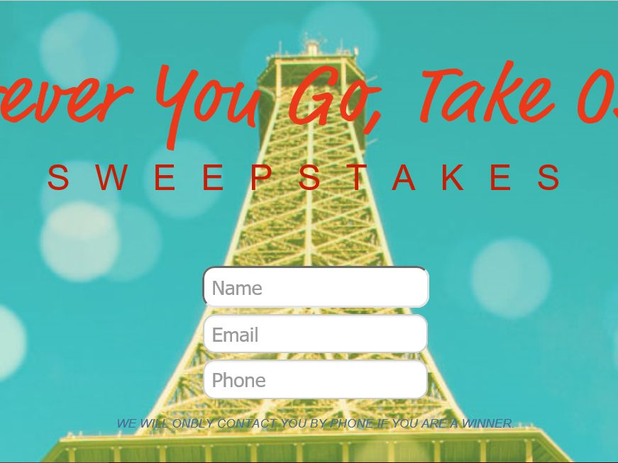 The Wherever You Go, Take Oscillo Sweepstakes