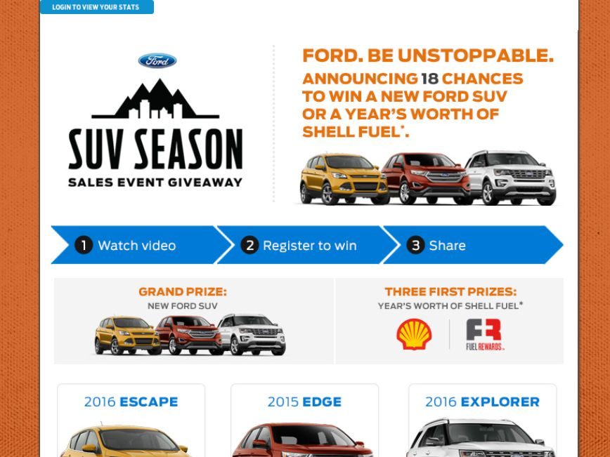 The Ford 2015 SUV Season Giveaway Sweepstakes