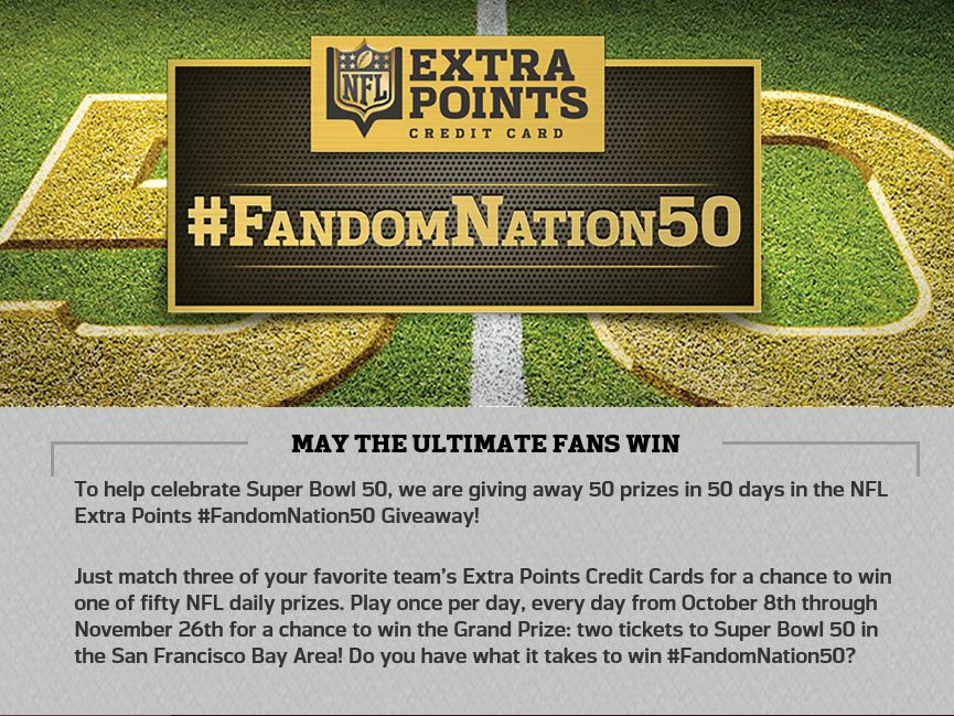 The NFL Extra Points #FandomNation50 Giveaway Sweepstakes