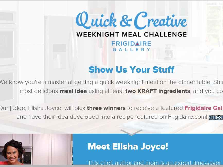 The Quick & Creative Weeknight Meal Challenge from Frigidaire Gallery Sweepstakes
