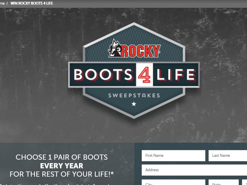 The Rocky Boots For Life Sweepstakes