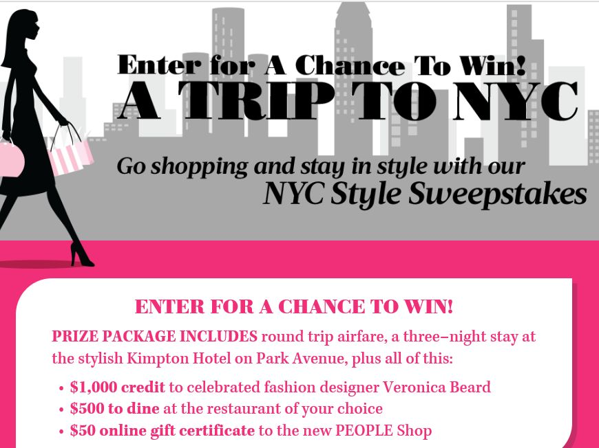 The PEOPLE NYC Style and Shopping Sweepstakes