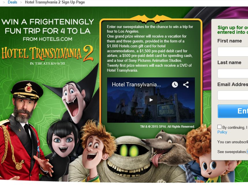"Hotels.com ""Hotel Transylvania 2"" Sweepstakes"